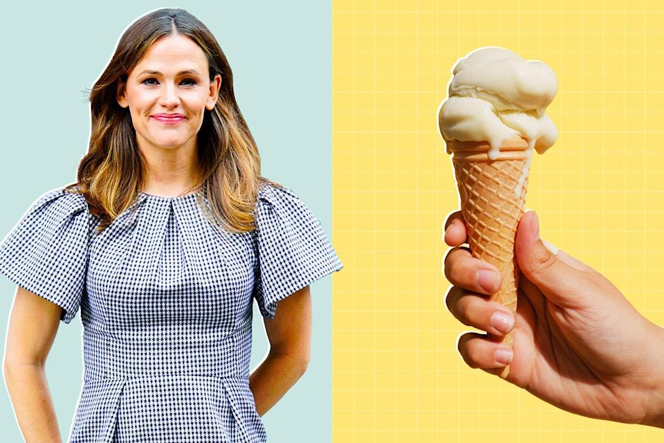 a portrait fo Jennifer Garner next to a woman's hand holding an ice cream cone