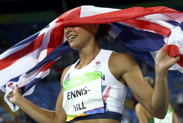 2016 Rio Olympics - Athletics - Final - Women's Heptathlon 800m - Olympic Stadium - Rio de Janeiro, Brazil - 13/08/2016. Silver medal winner Jessica Ennis-Hill (GBR) of Britain celebrates after the event. REUTERS/Kai Pfaffenbach FOR EDITORIAL USE ONLY. NOT FOR SALE FOR MARKETING OR ADVERTISING CAMPAIGNS.