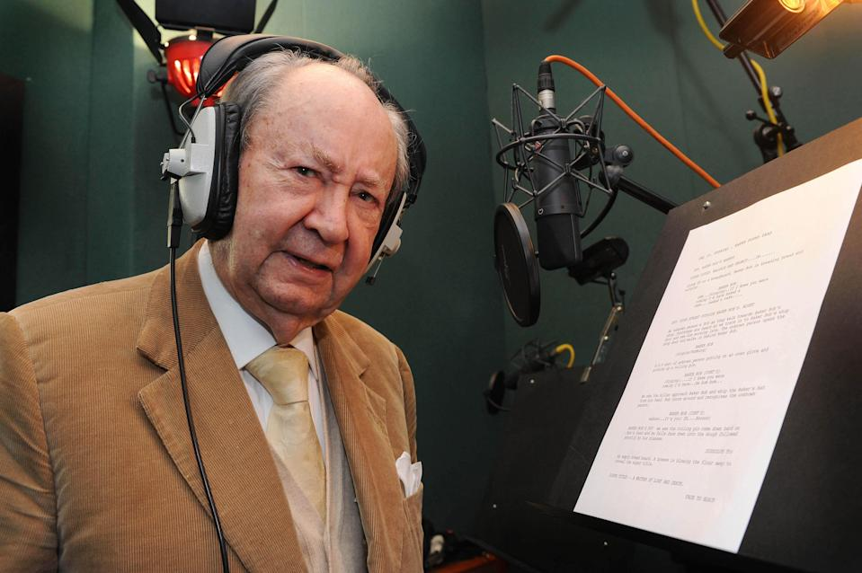 Peter Sallis reads a script, on the occasion of his 87th birthday, whilst in the studio recording for the forthcoming Wallace & Gromit TV special 'A Matter of Loaf & Death', (TX: TBC Christmas 2008) at The Sound Company, in London.   (Photo by Joel Ryan - PA Images/PA Images via Getty Images)