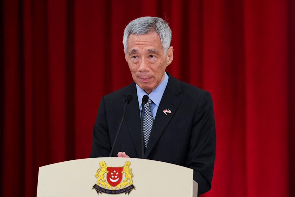 Singapore's Prime Minister Lee Hsien Loong attends a joint news conference with US Vice President Kamala Harris in Singapore on August 23, 2021. (Photo by Evelyn HOCKSTEIN / POOL / AFP) (Photo by EVELYN HOCKSTEIN/POOL/AFP via Getty Images)