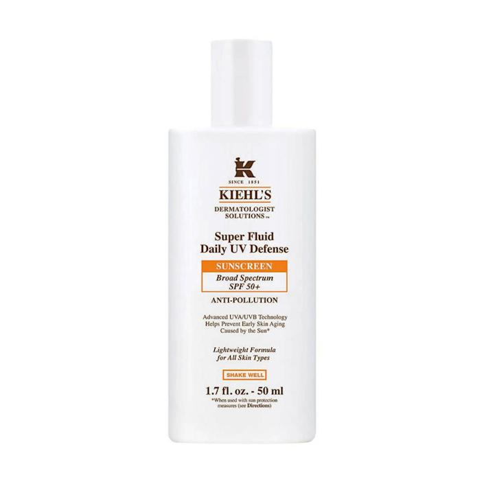 """&ldquo;I love this Kiehl&rsquo;s facial sunscreen because it&rsquo;s ― as the name suggests ― super fluid and thin to apply. It&rsquo;s a white color but takes no time to blend in and provides SPF 50 coverage not only from the sun but from pollution. I tend to burn easily and get lazy about reapplying sunscreen (I know, I know) but this makes it super easy to remember and reapply at the beach.&rdquo;<i> ― Jamie Feldman, reporter, personal and lifestyle<br><br></i><strong>Get <a href=""""https://www.kiehls.com/skincare/sunscreen/super-fluid-daily-uv-defense-spf-50/3605971618123.html?utm_medium=cse_feed&amp;utm_campaign=SKINCARE_CATEGORY_Sunscreen&amp;utm_source=google&amp;utm_content=Super_Fluid_Daily_UV_Defense_SPF_50+&amp;cm_mmc=cse_feed-_-SKINCARE_CATEGORY_Sunscreen-_-google-_-Super_Fluid_Daily_UV_Defense_SPF_50+&amp;GeoRedirectOff&amp;gclid=EAIaIQobChMIzKT4_YSt4gIVjY2zCh22XQvyEAYYASABEgL72vD_BwE"""" rel=""""nofollow noopener"""" target=""""_blank"""" data-ylk=""""slk:Kiehl&rsquo;s Super Fluid Daily UV Defense sunscreen"""" class=""""link rapid-noclick-resp"""">Kiehl&rsquo;s Super Fluid Daily UV Defense sunscreen</a> for $38.</strong>"""