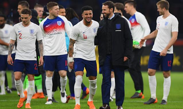 The England manager, Gareth Southgate, celebrates with his players following Friday's 1-0 victory over the Netherlands.