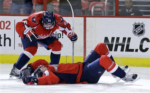 Washington Capitals center Mathieu Perreault, top, celebrates with left wing Wojtek Wolski, from Poland, after Wolski's goal in the first period of an NHL hockey game against the Florida Panthers on Thursday, March 7, 2013 in Washington. (AP Photo/Alex Brandon)