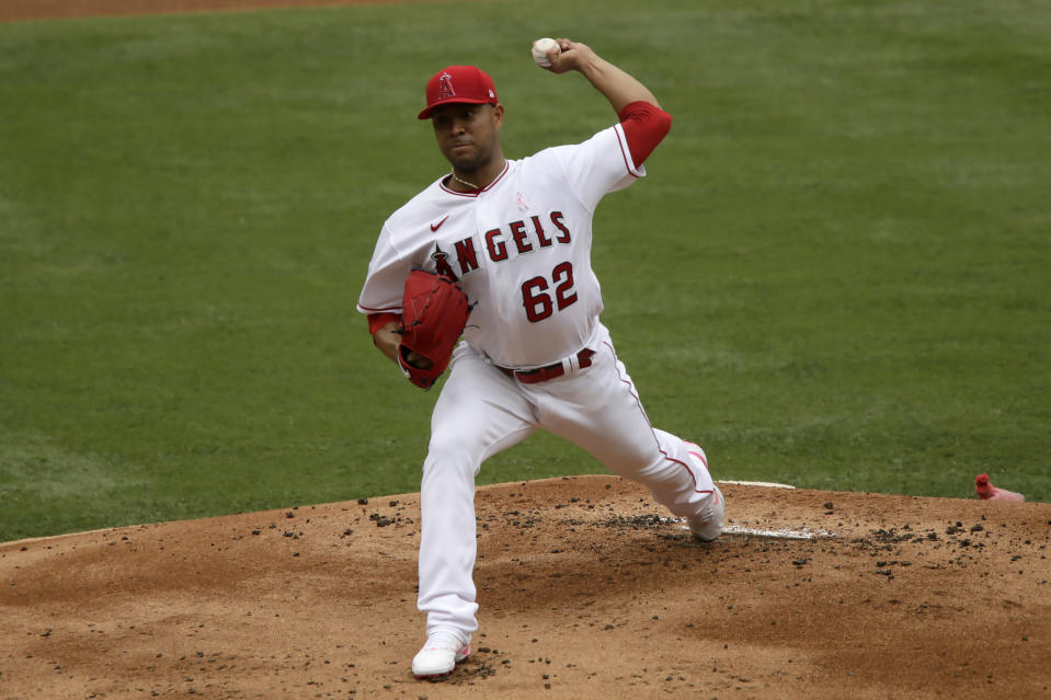 Los Angeles Angels starting pitcher Jose Quintana throws to a Los Angeles Dodgers batter during the first inning of a baseball game in Anaheim, Calif., Sunday, May 9, 2021. (AP Photo/Alex Gallardo)