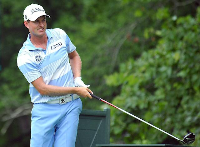 Webb Simpson tees off on the 14th hole during the first round of the Greenbrier Classic golf tournament at the Greenbrier Resort in White Sulphur Springs, W.Va., Thursday July 3, 2014 (AP Photo/Chris Tilley)