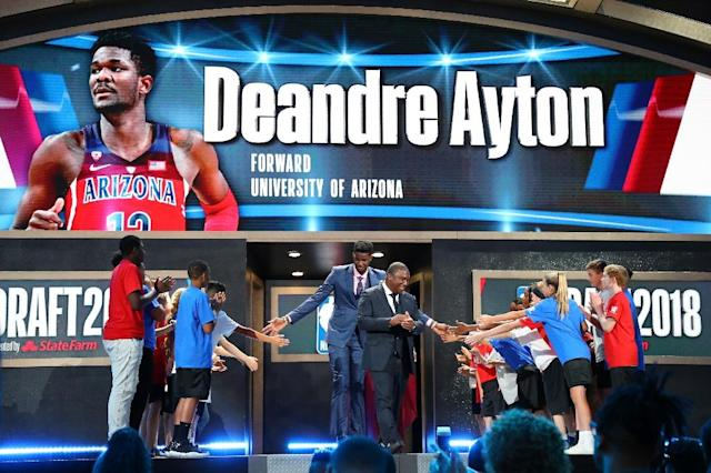 Deandre Ayton is introduced before the 2018 NBA Draft, at the Barclays Center in New York, on June 21 (AFP Photo/Mike Lawrie)