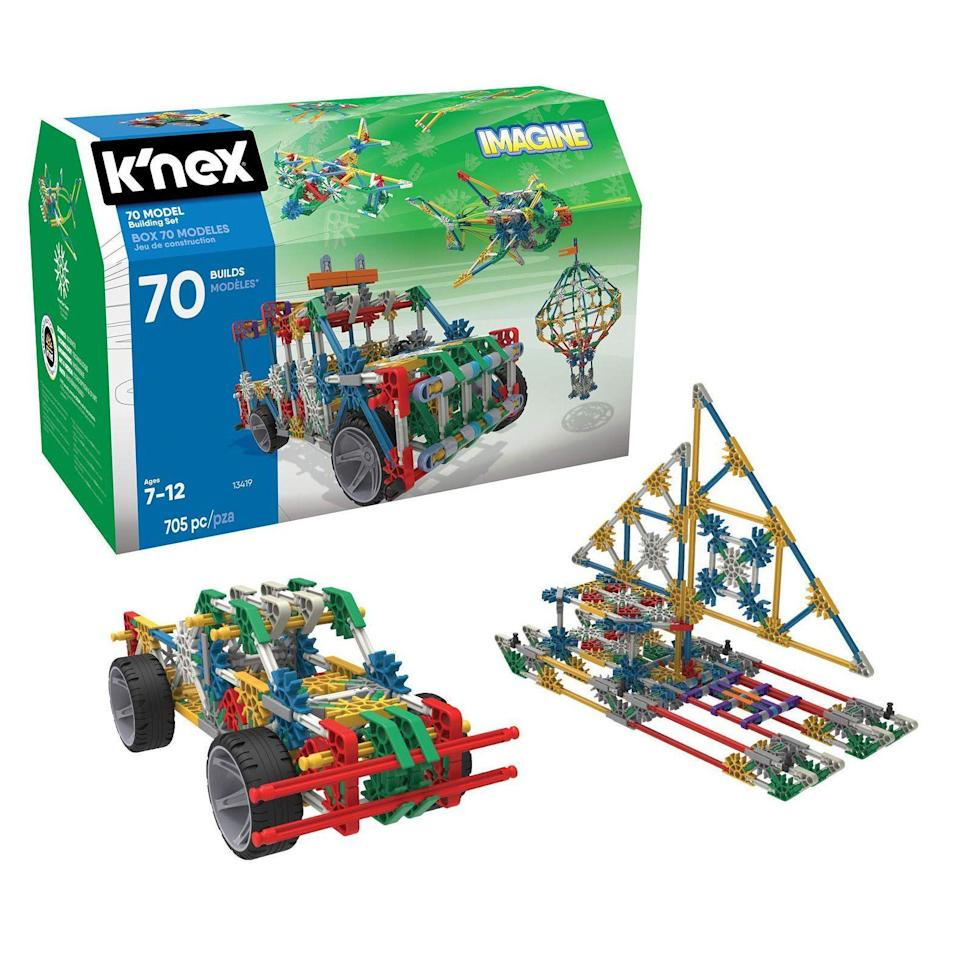 """<p><strong>K'NEX</strong></p><p>amazon.com</p><p><strong>$39.99</strong></p><p><a href=""""https://www.amazon.com/dp/B00HROBJXY?tag=syn-yahoo-20&ascsubtag=%5Bartid%7C10055.g.29513983%5Bsrc%7Cyahoo-us"""" rel=""""nofollow noopener"""" target=""""_blank"""" data-ylk=""""slk:Shop Now"""" class=""""link rapid-noclick-resp"""">Shop Now</a></p><p>What makes this building kit stand out is that his<strong> creations can actually move</strong> thanks to included wheels, rotors, wings and tracks. This set develops hand-eye coordination, problem-solving skills, imagination and spatial awareness while still being fun. <em>Ages 7+</em></p>"""