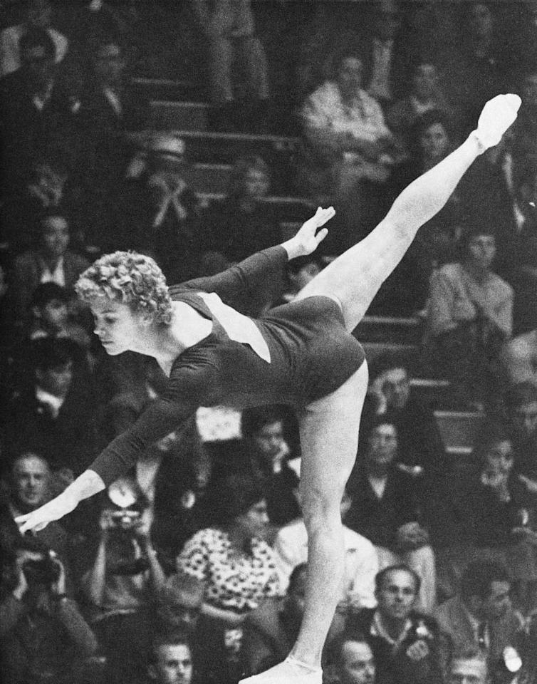 Larisa Latynina of Russia during her performance on the beam at the final of the woman's gymnastics held Sept. 9, 1960 at Rome's Terme Di Caracalla. She won second place in this event. (AP Photo)