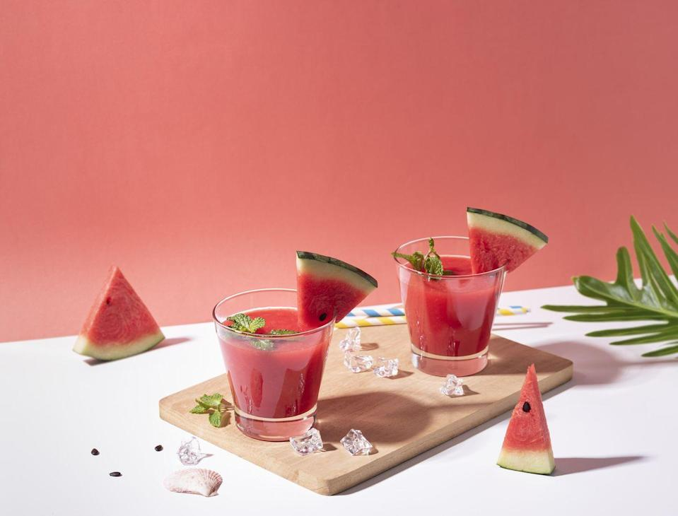 <p>Is watermelon good for you? Absolutely. But this is juice, not water, and a glass packs 21g of sugar – more than half of a Coke – with zero fibre. It contains a small amount of muscle-boosting L-citrulline, but not enough to have a measurable effect. Instead, enjoy it as nature intended: cubed, frozen and added to a gin and tonic.</p>