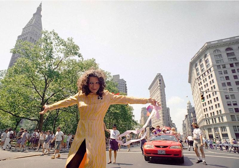 In this June 26, 1994, file photo, LGBT pioneer Sylvia Rivera leads an ACT-UP march past New York's Union Square Park. Rivera and Marsha P. Johnson, two LGBT rights activists who took part in the 1969 Stonewall rebellion and founded an organization that helped homeless gay youths, will be honored with a public monument in New York City, officials announced Thursday, May 30, 2019. (Photo: AP Images)