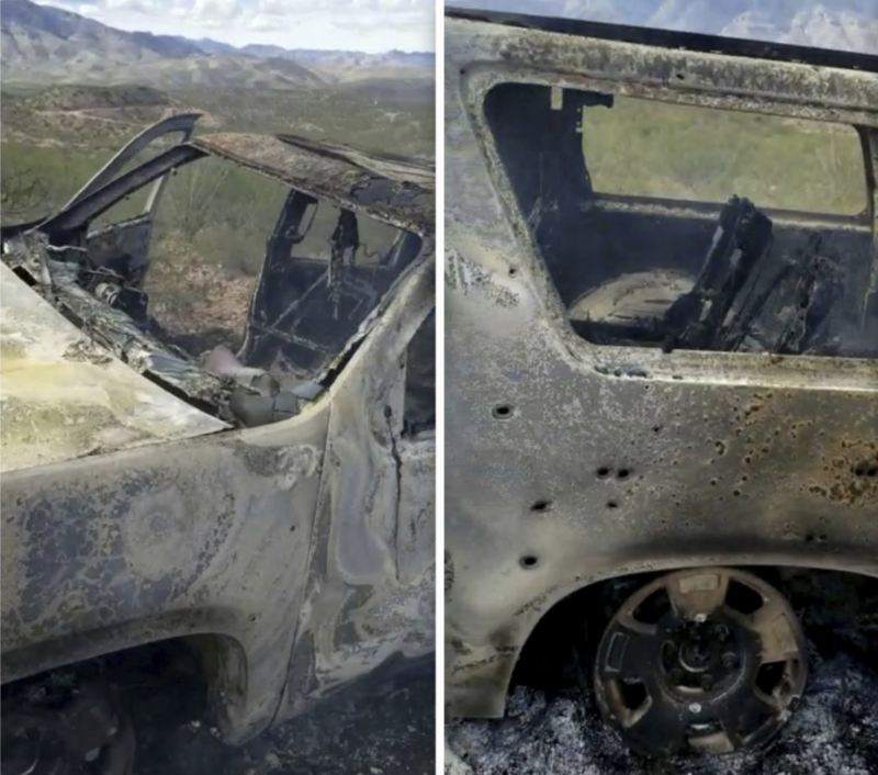 One of the burnt cars driven by the mums, seen riddled with bullets after the attack. Source: Alex LeBaron via AAP