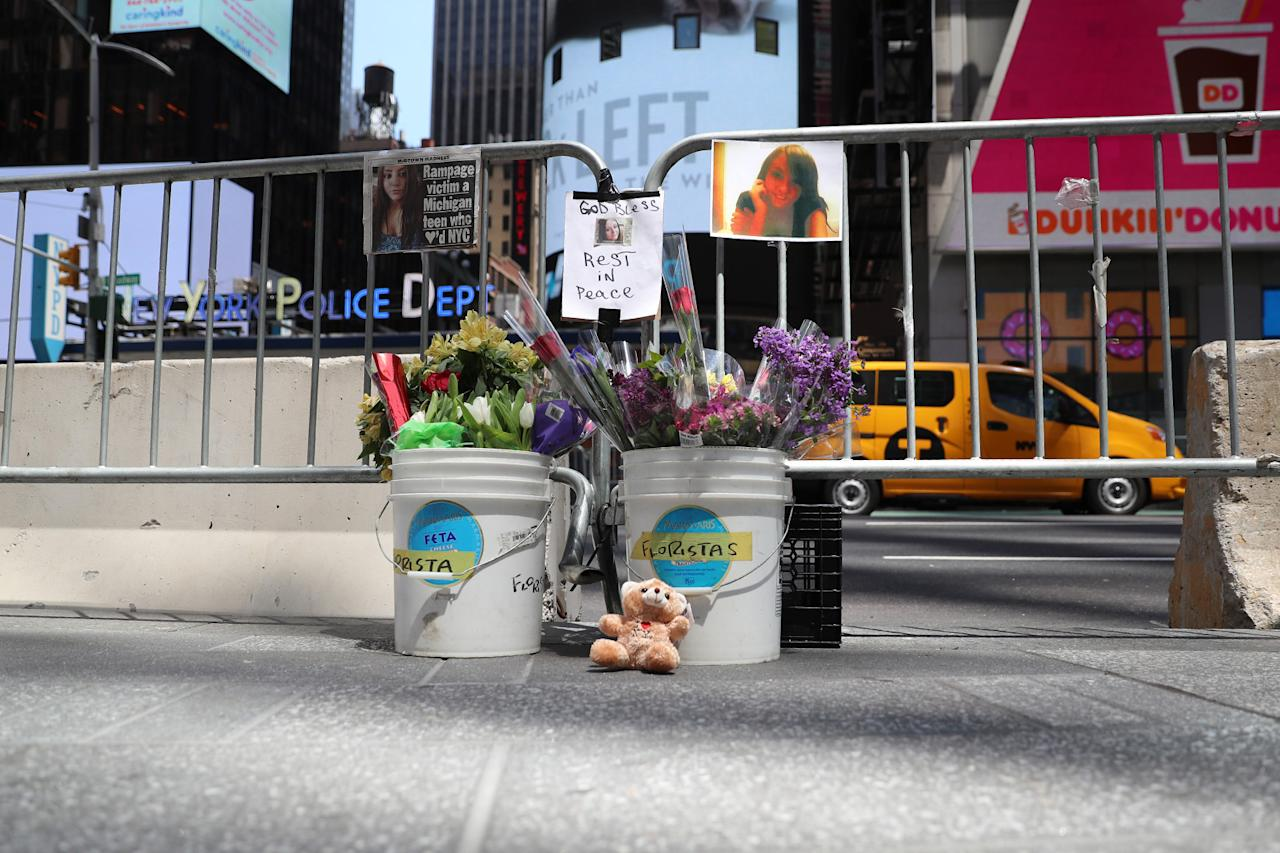 <p>An area designated for the victims of an accident in New York's Times Square after a driver plowed through a crowd of pedestrians, injuring 22 people, is seen on Friday morning, May 19, 2017. (Gordon Donovan/Yahoo News) </p>
