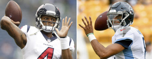 FILE - At left, in an Oct. 29, 2017, file photo, Houston Texans quarterback Deshaun Watson passes during warmups before an NFL football game against the Seattle Seahawks, in Seattle. At right, in an Aug. 25, 2018, file photo, Tennessee Titans quarterback Marcus Mariota (8) passes during warmups before an NFL football game against the Pittsburgh Steelers, in Pittsburgh. Houston plays at Tennessee on Sunday, Sept. 16, 2018. (AP Photo/File)
