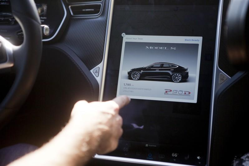 The Tesla Model S version 7.0 software update containing Autopilot features are demonstrated during a Tesla event in Palo Alto