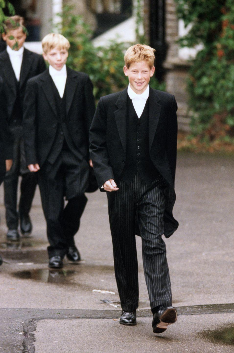 <p>Prince Harry is all smiles for his first day at Eton College. </p>