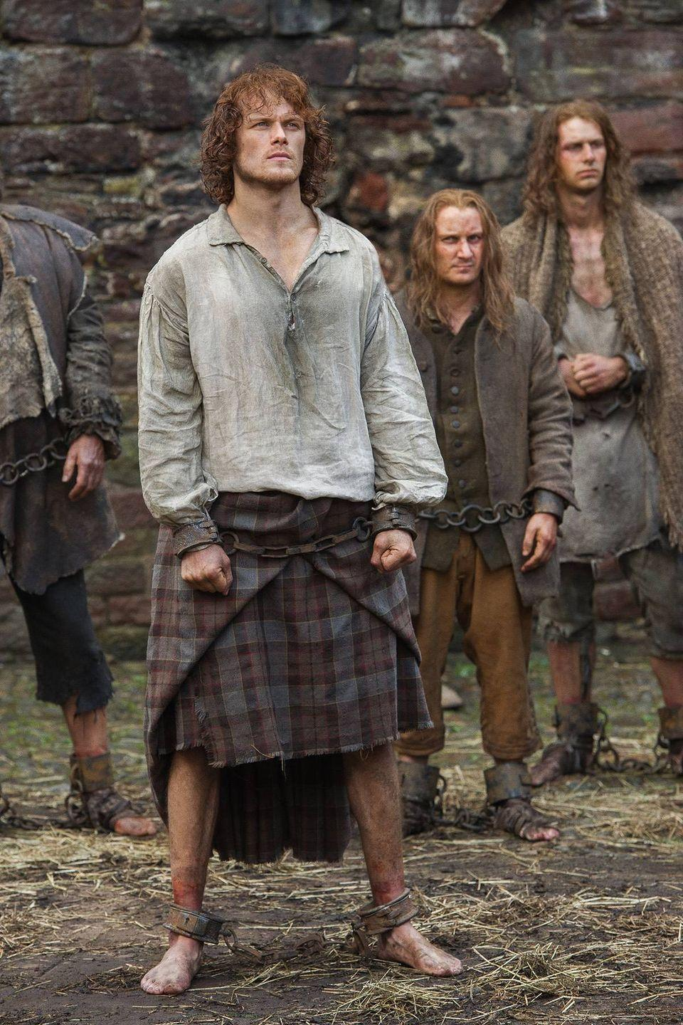 """<p>Any shirtless or backless scenes need to be <a href=""""https://www.marieclaire.com/culture/a28610/outlander-season-three-set-visit/"""" rel=""""nofollow noopener"""" target=""""_blank"""" data-ylk=""""slk:filmed first."""" class=""""link rapid-noclick-resp"""">filmed first.</a></p>"""