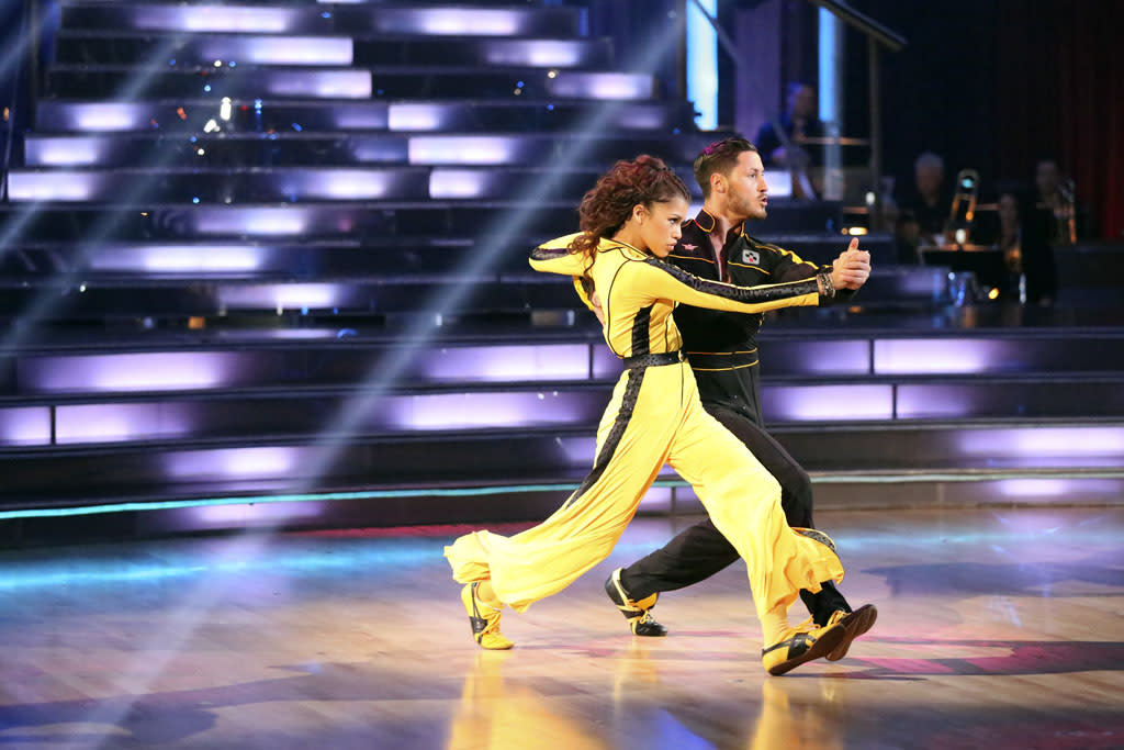"Zendaya and Val Chmerkovskiy perform on ""Dancing With the Stars."""