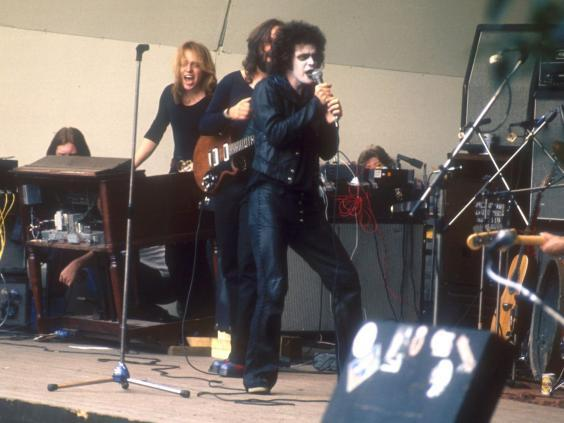 Reed onstage at the Crystal Palace Garden Party in September 1973 (Rex)