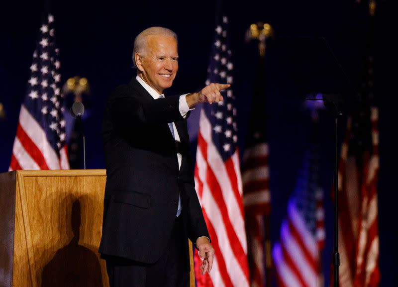 Democratic 2020 U.S. presidential nominee Joe Biden points to the crowd after speaking at his election rally in Wilmington