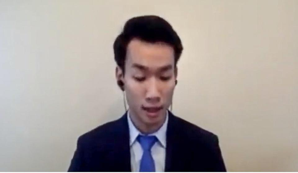 Brian Leung also spoke at the US hearing by teleconference. Photo: Handout