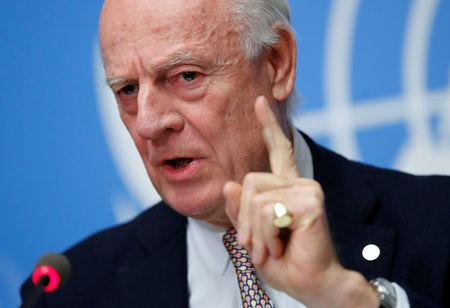 FILE PHOTO - UN Special Envoy for Syria de Mistura attends a news conference in Geneva