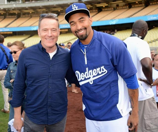 Well known Dodgers fan Bryan Cranston poses with current star Matt Kemp. Cranston will narrate an MLB Network special on the 1988 Dodgers this weekend. (Getty Images)