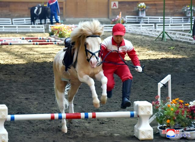 People take part in a horse riding game at the Mirim Equestrian Riding Club in Pyongyang, North Korea October 15, 2017, in this picture released by North Korea's Korean Central News Agency (KCNA) in Pyongyang. KCNA/via REUTERS ATTENTION EDITORS - THIS IMAGE WAS PROVIDED BY A THIRD PARTY. REUTERS IS UNABLE TO INDEPENDENTLY VERIFY THIS IMAGE. NO THIRD PARTY SALES. SOUTH KOREA OUT.