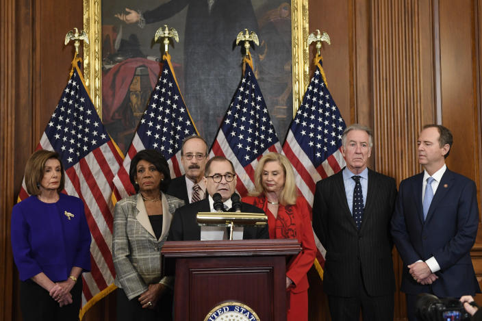 Nancy Pelosi, Maxine Waters, Eliot Engel, Jerry Nadler, Carolyn Maloney, Richard Neal and Adam Schiff during a news conference on Tuesday. (Photo: Susan Walsh/AP)