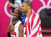 LONDON, ENGLAND - AUGUST 12: Kobe Bryant #10 of the United States and team mate Tyson Chandler #4 of the United States celebrate winning the Men's Basketball gold medal game between the United States and Spain on Day 16 of the London 2012 Olympics Games at North Greenwich Arena on August 12, 2012 in London, England. The United States won the match 107-100. (Photo by Streeter Lecka/Getty Images)