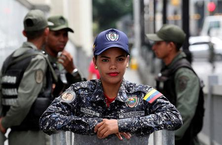 Venezuelan National Police member stands near the National Assembly building in Caracas, Venezuela, May 14, 2019. REUTERS/Ivan Alvarado