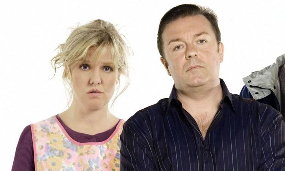 Ashley Jensen and Ricky Gervais in <i>Extras</i> (BBC)