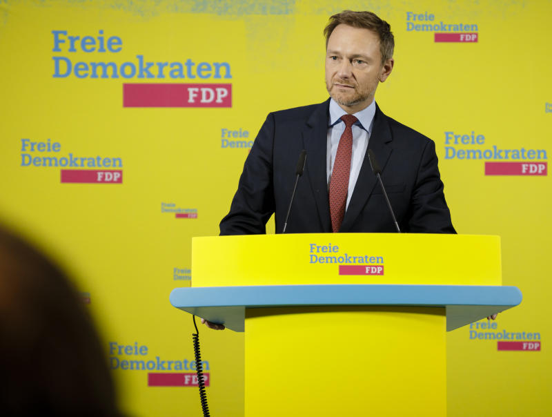BERLIN, GERMANY - FEBRUARY 07: Christian Lindner, FDP Federal Chairman, makes a statement at the Hans-Dietrich-Genscher-Haus, on February 07, 2020 in Berlin, Germany. (Photo by Felix Zahn/Photothek via Getty Images)