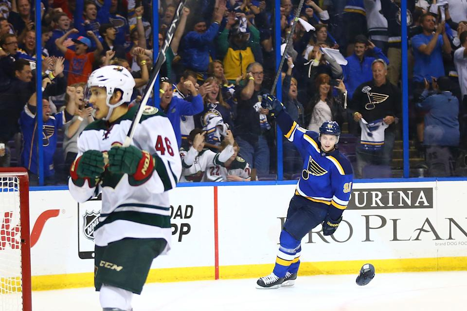 ST. LOUIS, MO - APRIL 18: Vladimir Tarasenko #91 of the St. Louis Blues celebrates after scoring an empty-net goal for a hat trick against the Minnesota Wild during Game Two of the Western Conference Quarterfinals during the 2015 NHL Stanley Cup Playoffs at the Scottrade Center on April 18, 2015 in St. Louis, Missouri. (Photo by Dilip Vishwanat/Getty Images)