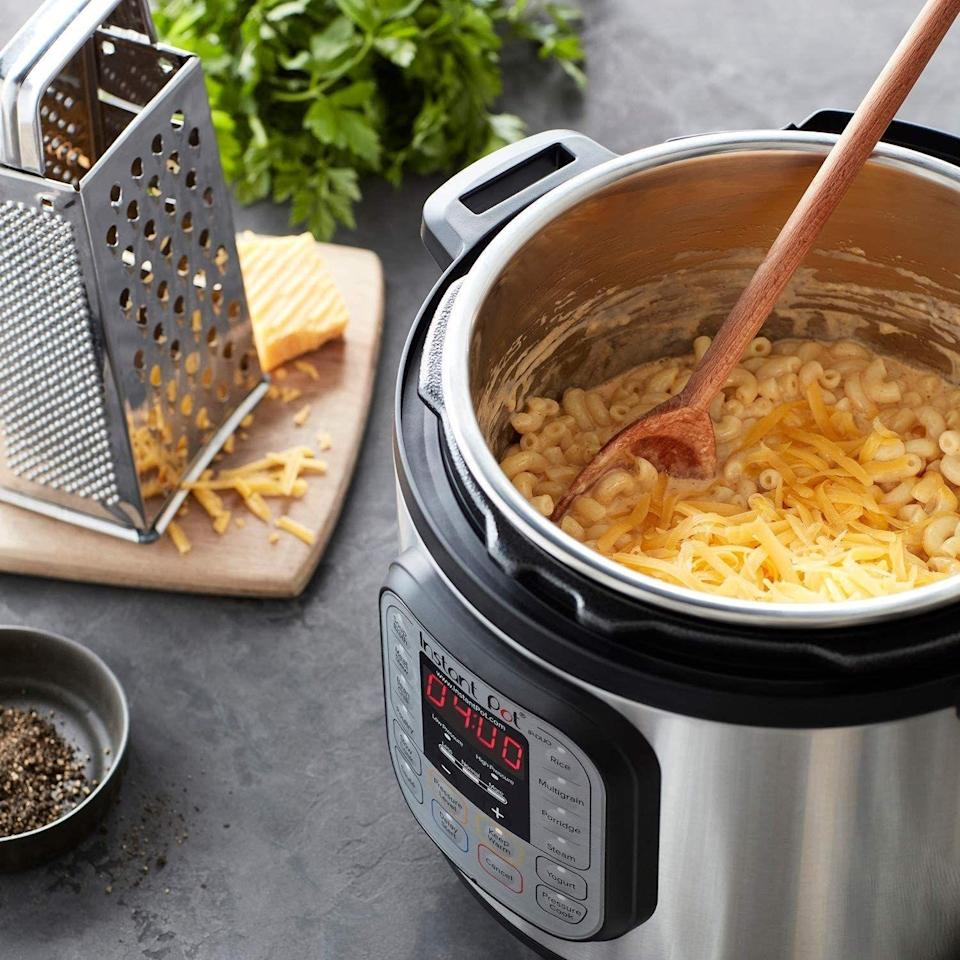 """You've probably heard a lot about this — for a good reason. Or rather, seven good reasons: It'll slow cook, pressure cook, make rice, sauté, make yogurt and keep food warm. Bye-bye, other appliances!<br /><br /><strong>Promising reviews:</strong>""""Best thing I've ever bought! I use it constantly and it's wonderfully fast! Producing great meals."""" —<a href=""""https://www.amazon.com/dp/B00FLYWNYQ?tag=huffpost-bfsyndication-20&ascsubtag=5883859%2C21%2C54%2Cd%2C0%2C0%2C0%2C962%3A1%3B901%3A2%3B900%3A2%3B974%3A3%3B975%3A2%3B982%3A2%2C0%2C0"""" target=""""_blank"""" rel=""""noopener noreferrer"""">Trubyslippers</a><br /><br />""""We bought this a few weeks ago since we have been hearing so much about them and let me tell you, these are the best thing to come around since sliced bread.<strong>Basically we haven't had anything to eat in two weeks that hasn't been made in the Instant Pot.</strong>The pot itself comes with a recipe book and there are so many more online and we are yet to find a recipe that isn't amazing. The build of the Pot is super sturdy as well. highly recommend."""" —<a href=""""https://www.amazon.com/dp/B00FLYWNYQ?tag=huffpost-bfsyndication-20&ascsubtag=5883859%2C21%2C54%2Cd%2C0%2C0%2C0%2C962%3A1%3B901%3A2%3B900%3A2%3B974%3A3%3B975%3A2%3B982%3A2%2C0%2C0"""" target=""""_blank"""" rel=""""noopener noreferrer"""">Thomas D<br /></a><br /><strong>Get a six-quart Instant Pot from Amazon for<a href=""""https://www.amazon.com/dp/B00FLYWNYQ?tag=huffpost-bfsyndication-20&ascsubtag=5883859%2C21%2C54%2Cd%2C0%2C0%2C0%2C962%3A1%3B901%3A2%3B900%3A2%3B974%3A3%3B975%3A2%3B982%3A2%2C0%2C0"""" target=""""_blank"""" rel=""""noopener noreferrer"""">$89</a>(also available in three-quart and eight-quart sizes</strong>).<br /><br /><i>Still wondering if this is right for you? Check out on BuzzFeed writer's<a href=""""https://www.buzzfeed.com/rachelchristensen/instant-pot-review"""">review of the Instant Pot</a>for an in-depth look.</i>"""