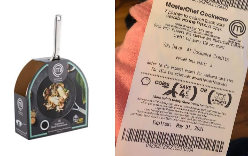 A MasterChef pan (left) and a receipt showing credits (rights).