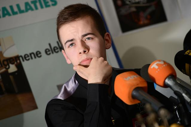 Belgian snooker player Luca Brecel looks on during a press conference, in Dilsen-Stokkem, on April 18, 2012. Brecel is the youngest player ever to qualify for the Snooker World Championships, which will take place in Sheffield from April 21 to May 7 2012. AFP PHOTO / BELGA / YORICK JANSENS ***Belgium Out*** (Photo credit should read YORICK JANSENS/AFP/Getty Images)