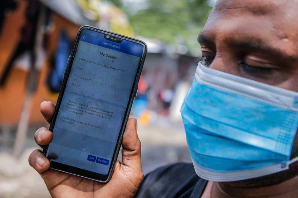 A screencap of Abdul Hamid's MySejahtera which shows he has not registered for Covid-19 vaccination June 13, 2021. ― Picture by Hari Anggara