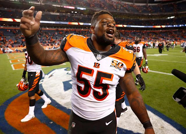 "The Bengals cut linebacker <a class=""link rapid-noclick-resp"" href=""/nfl/players/26238/"" data-ylk=""slk:Vontaze Burfict"">Vontaze Burfict</a> who played seven seasons in Cincinnati. (AP)"