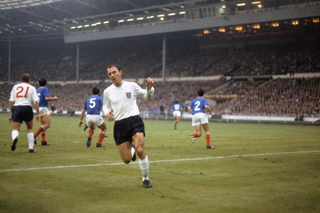 Greaves in action for England in the 1966 World Cup group match against France