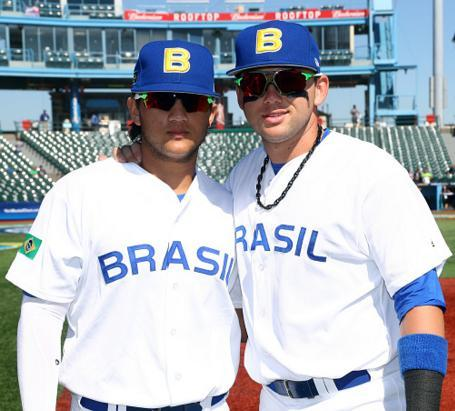 Brothers Bo Bichette (left) and Dante Bichette Jr. represented Brazil during the World Baseball Classic qualifiers in 2016. (Getty Images)