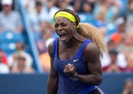 Serena Williams (USA) reacts on day six of the Western and Southern Open tennis tournament at Linder Family Tennis Center. Mandatory Credit: Aaron Doster-USA TODAY Sports