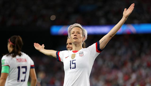"<a class=""link rapid-noclick-resp"" href=""/olympics/rio-2016/a/1124356/"" data-ylk=""slk:Megan Rapinoe"">Megan Rapinoe</a>'s iconic celebratory pose from this summer's Women's World Cup is one thing the USWNT can sell. (Getty)"