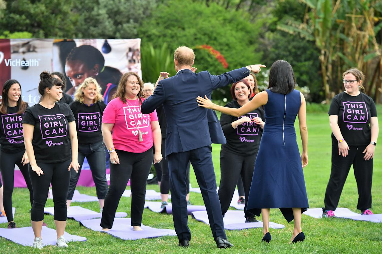 <p>They even assisted with a range of activities that were being held, including Aussie rules football, netball, yoga, boxercise, cricket, cycling and Zumba to an energising soundtrack performed by DJ Yo Mafia. Photo: Getty </p>