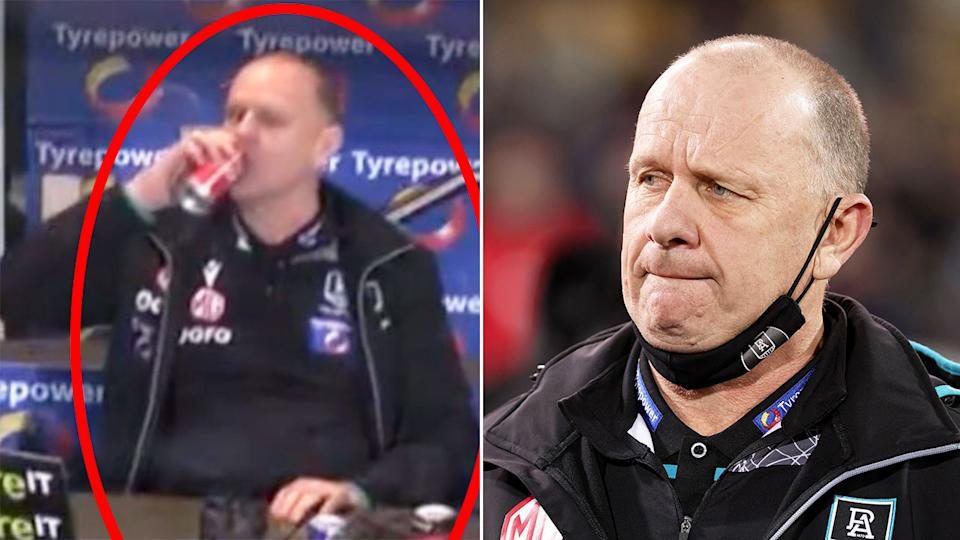 Seen here, Port Adelaide coach Ken Hinkley with an assortment of caffeinated drinks in his coaches box.