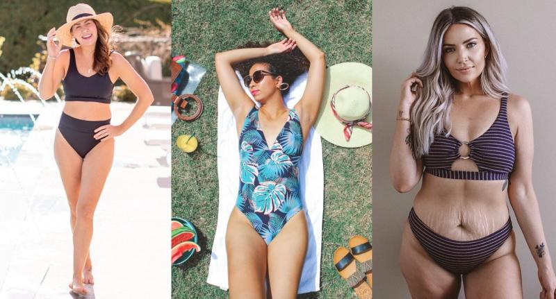 Knix's latest swimwear campaign features Canadian TV personality Jillian Harris (far left) and influencer Sarah Landry (far right) as well as 25 real women from across North America. (Images via Knix/Instagram).