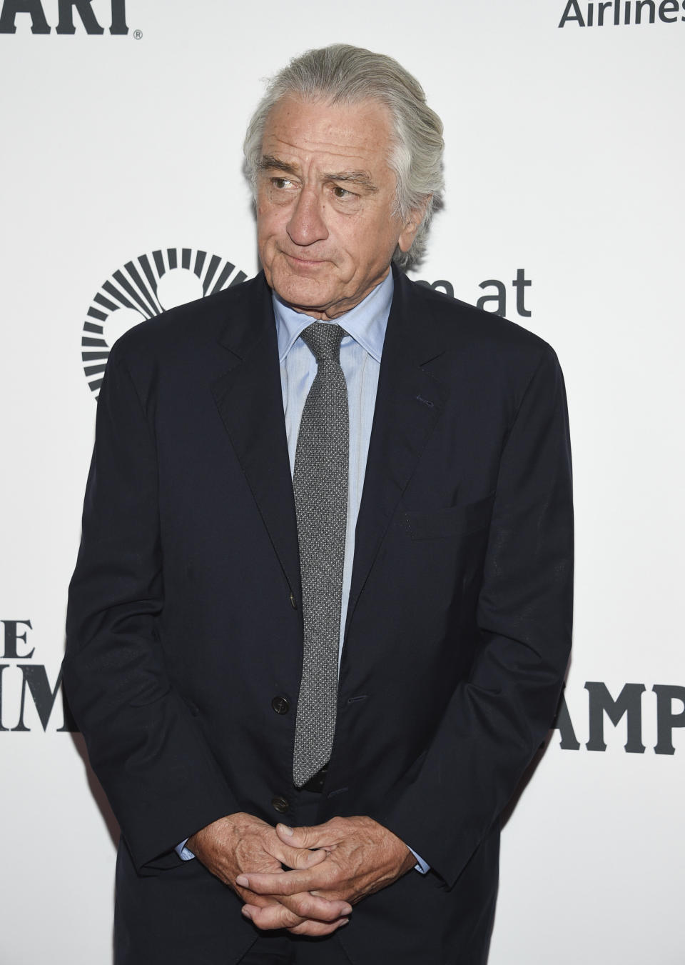 """Robert De Niro attends the world premiere of """"The Irishman"""" at Alice Tully Hall during the opening night of the 57th New York Film Festival on Friday, Sept. 27, 2019, in New York. (Photo by Evan Agostini/Invision/AP)"""