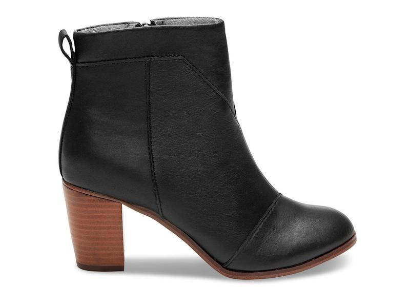 "They're cute, comfortable, and give back. What more could you want out <a href=""http://www.toms.com/featured-shops/black-leather-womens-lunata-booties"" target=""_blank"">of a new shoe</a>?"