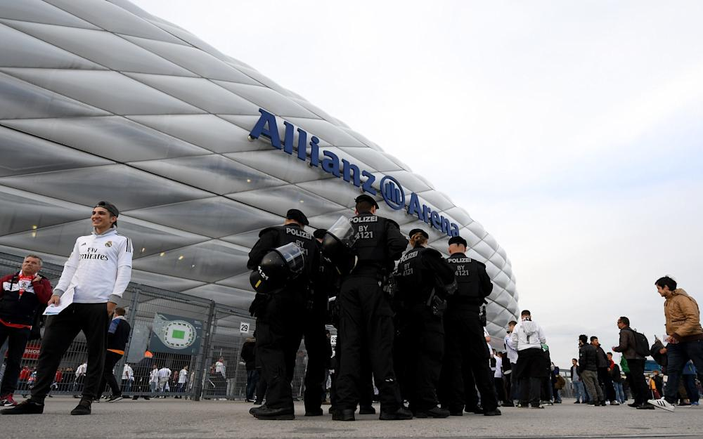 bayern munich security outside the stadium - Credit: GETTY
