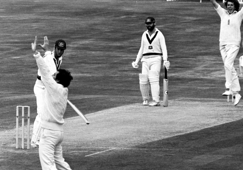 A jubilant Bob Willis (top right) claims another victim as Geoff Lawson is caught behind for one run at Headingley when England scored a sensational win over Australia in the third Cornhill Test match. (Photo by PA Images via Getty Images)