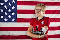 Paralympic cyclist Greta Neimanas poses for a portrait during the 2012 U.S. Olympic Team Media Summit in Dallas, May 15, 2012.